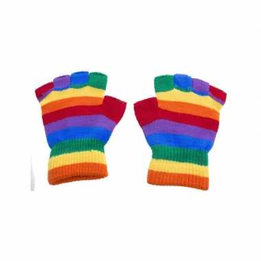 Goedkope handschoenen zonder vingers regenboog one size