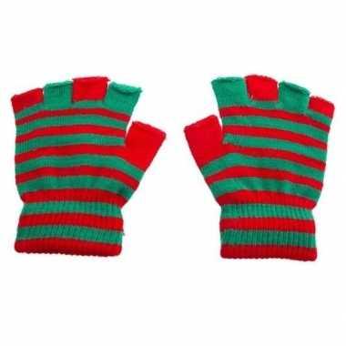 Goedkope handschoenen zonder vingers rood groen one size