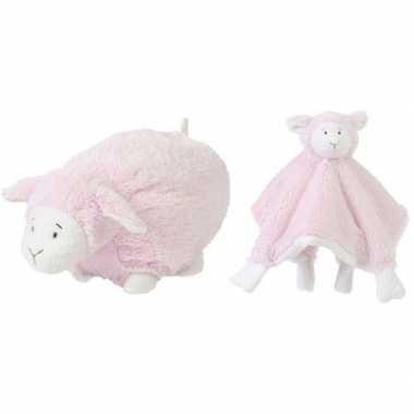 Goedkope happy horse lammetje roze knuffeldoekje knuffel liggend cm