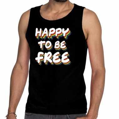 Goedkope happy to be free gay pride tanktop/mouwloos shirt zwart her