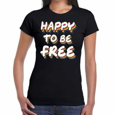 Goedkope happy to be free gaypride t shirt zwart dames