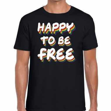 Goedkope happy to be free gaypride t shirt zwart heren