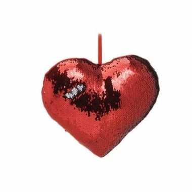 Goedkope hartjes kussen rood metallic pailletten