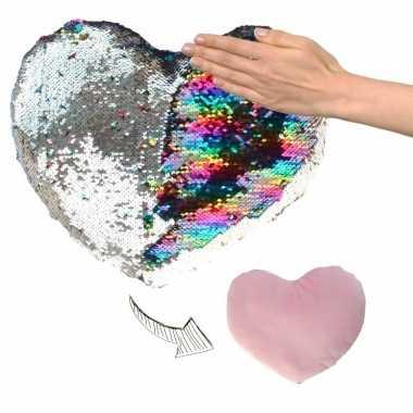 Goedkope hartjes kussen zilver/roze metallic pailletten