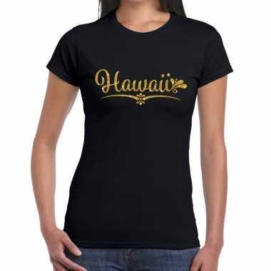 Goedkope hawaii gouden glitter tekst t shirt zwart dames