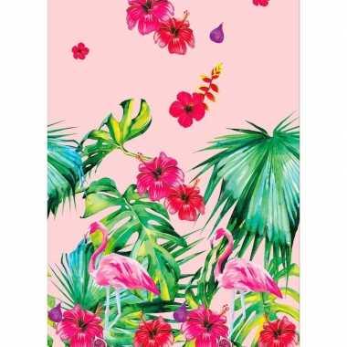 Goedkope hawaii tafelkleed/tafellaken flamingo roze/groen
