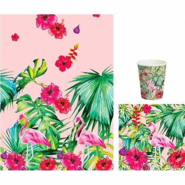Goedkope hawaii thema tafeldecoratie set bekers/servetten/tafelkleed