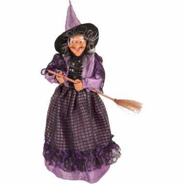 Goedkope heks decoratie pop paars/zwart halloween versiering