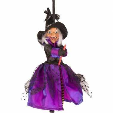 Goedkope heks hangdecoratie pop paars/zwart halloween versiering
