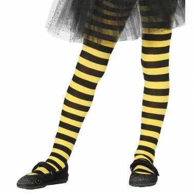 Goedkope heksen verkleedaccessoires panty maillot zwart/geel meisjes