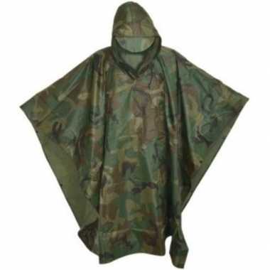 Goedkope herbruikbare camouflage regenponcho volwassenen one size