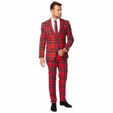 Heren verkleed pak/kostuum rode schotse goedkope