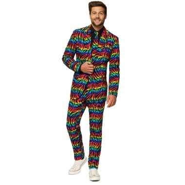 Heren verkleed pak/kostuum zebra regenboog goedkope