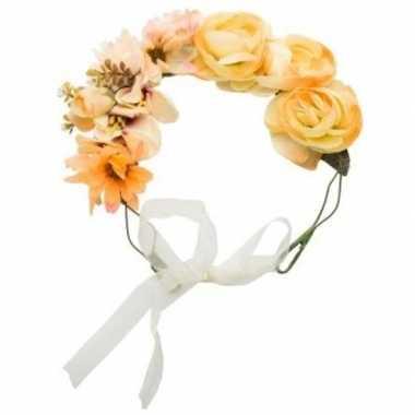 Goedkope hippie/flower power oranje verkleed bloemen hoofdband
