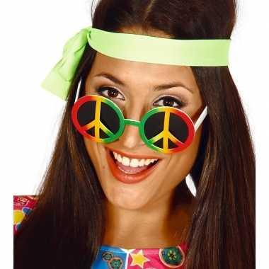 Goedkope hippie/flower power peace verkleed bril