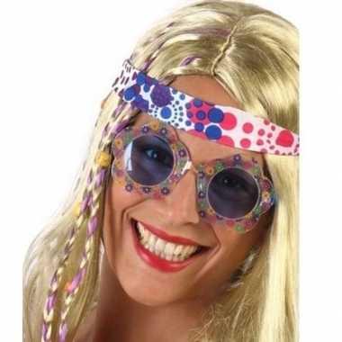 Goedkope hippie verkleed bril blauwe glazen volwassenen