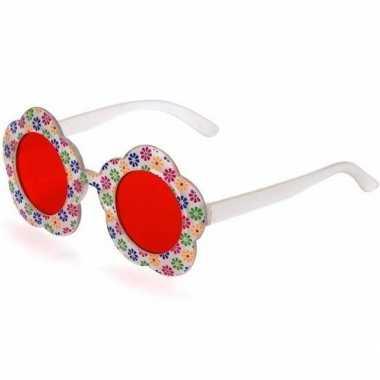 Goedkope hippie verkleed bril rode glazen volwassenen
