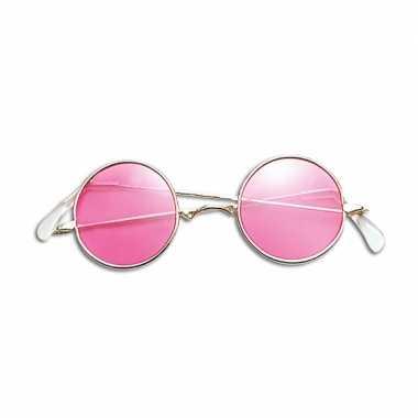 Goedkope hippie verkleed bril roze