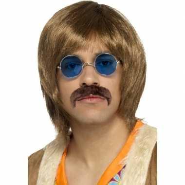 Goedkope hippie verkleed pruik, snor bril setje heren
