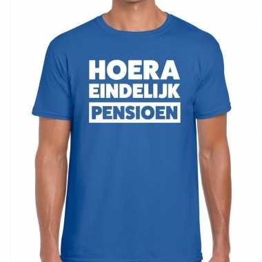Goedkope hoera eindelijk pensioen t shirt blauw heren