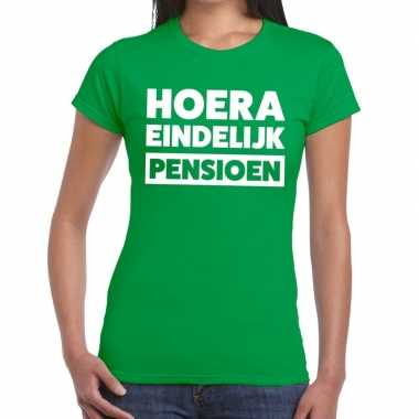 Goedkope hoera eindelijk pensioen t shirt groen dames