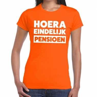 Goedkope hoera eindelijk pensioen t shirt oranje dames