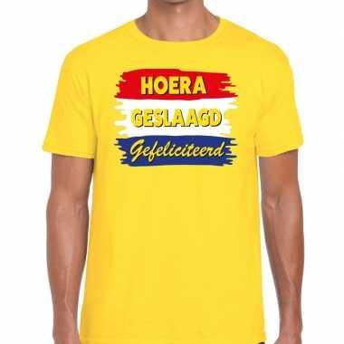 Goedkope hoera geslaagd gefeliciteerd t shirt geel heren