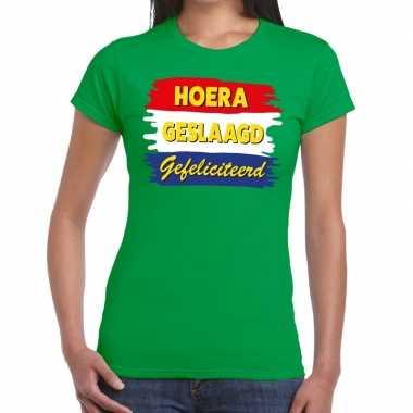 Goedkope hoera geslaagd gefeliciteerd t shirt groene dames