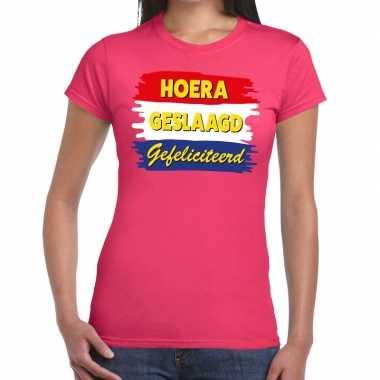 Goedkope hoera geslaagd gefeliciteerd t shirt roze dames