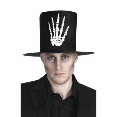 Goedkope hoge hoed zwart skelet hand