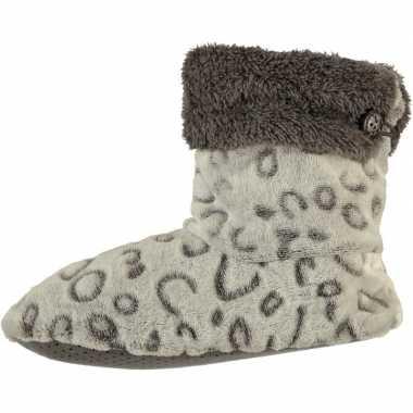 Goedkope hoge omslag pantoffels/sloffen luipaard grijs dames