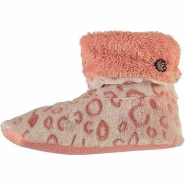 Goedkope hoge omslag pantoffels/sloffen luipaard roze dames