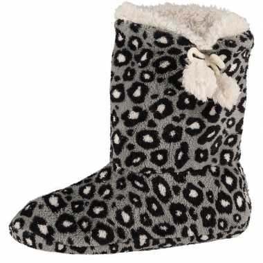 Goedkope hoge pantoffels/sloffen luipaard grijs dames
