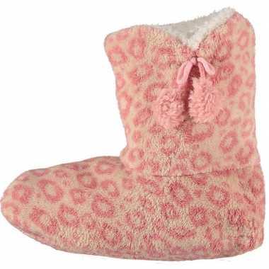 Goedkope hoge pantoffels/sloffen luipaard roze dames