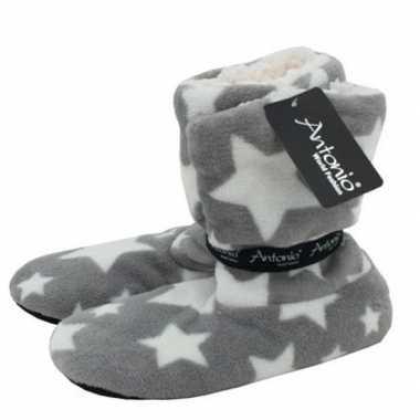 Goedkope hoge pantoffels/sloffen sterren grijs dames