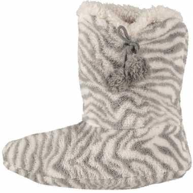 Goedkope hoge pantoffels/sloffen zebra grijs dames