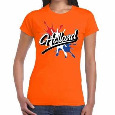 Goedkope holland t shirt spetter oranje dames
