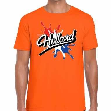 Goedkope holland t shirt spetter oranje heren