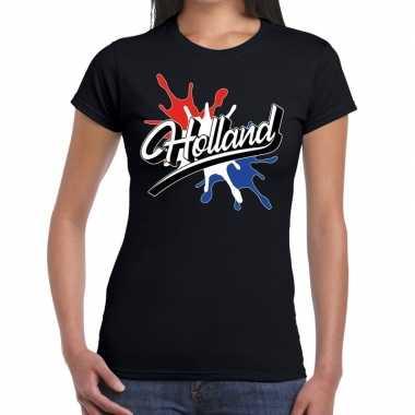 Goedkope holland t shirt spetter zwart dames