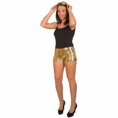 Goedkope hotpants pailletten goud dames