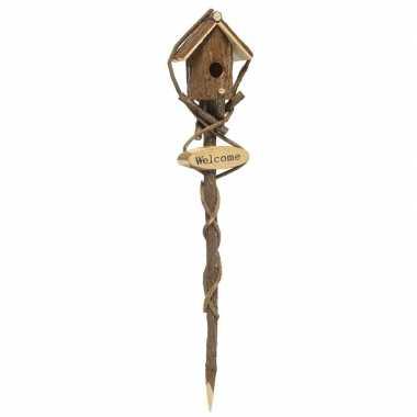 Goedkope houten vogelhuisje stok bruin rond