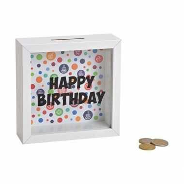 Goedkope houten witte spaarpot happy birthday glas