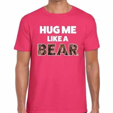 Goedkope hug me like a bear tekst t shirt roze heren