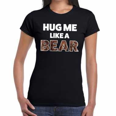 Goedkope hug me like a bear tekst t shirt zwart dames