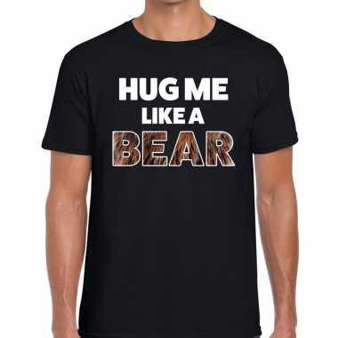 Goedkope hug me like a bear tekst t shirt zwart heren
