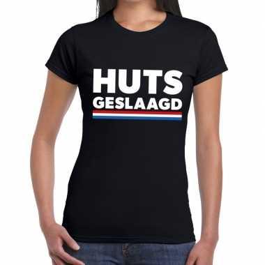 Goedkope huts geslaagd t shirt zwart dames