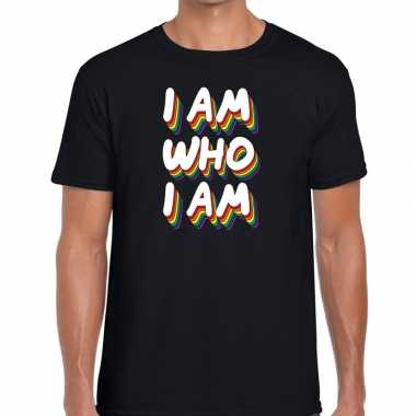 Goedkope i am who i am gaypride t shirt zwart heren