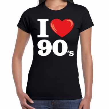 Goedkope i love s / nineties t shirt zwart dames
