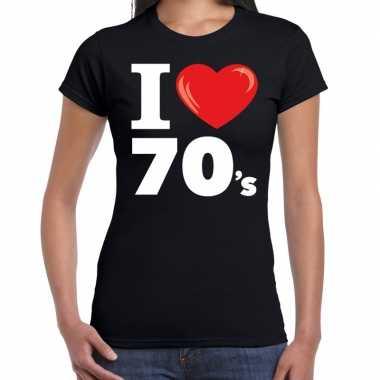 Goedkope i love s / seventies t shirt zwart dames