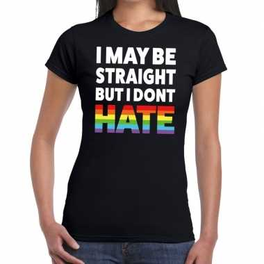 Goedkope i may be straight but i dont hate gaypride t shirt zwart dam